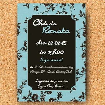 Convite Chá Floral Azul - digital