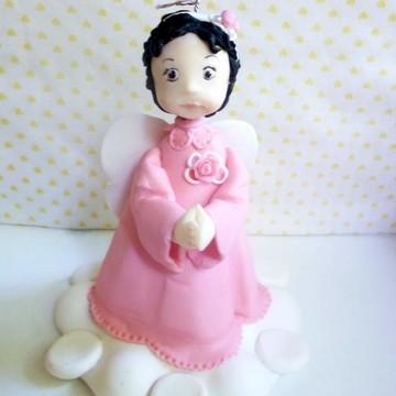 topo de bolo anjo rosa