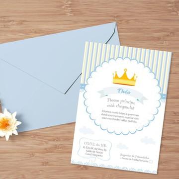 Convite-Chá de bebê Coroa Azul (menino)