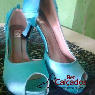 Sapato cetim Azul turquesa/tiffany