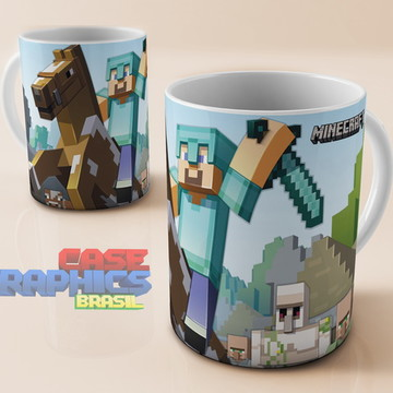 Caneca Minecraft Steve Cavalo Zumbi Jogo Game Cubo Porcelana