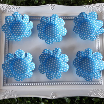 50 Forminha para doces de poá Azul Claro