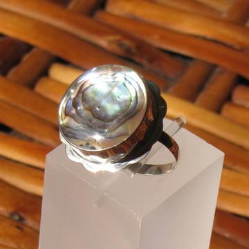 Anel de prata e abalone - Aro 13