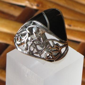 Anel de prata e onix - Aro 17