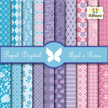 Kit c/ 20 - Papel Digital - Azul e Rosa