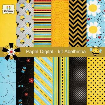 Kit c/ 12 - Papel Digital - Abelinha 1