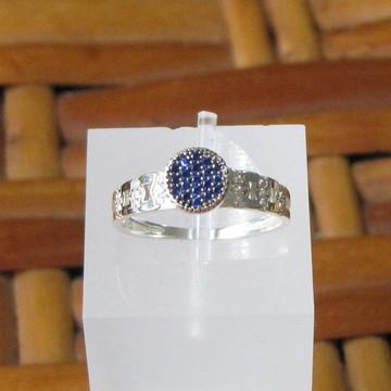 Anel de prata e zirconias azuis - Aro 15
