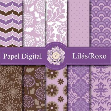 Kit c/ 10 Papel Digital- Lilás e Roxo