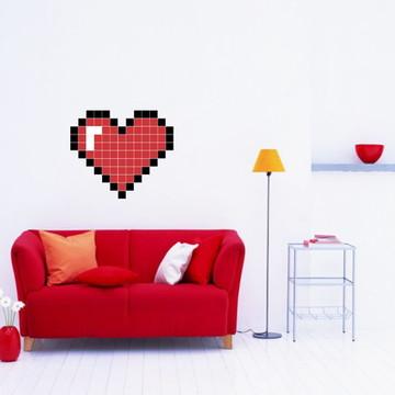 Adesivo Coração Pixels