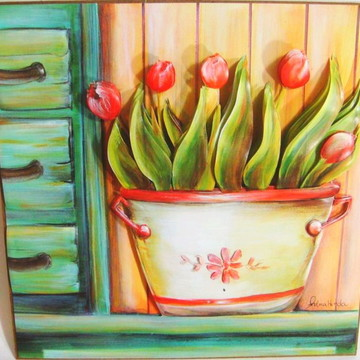 Quadro arte francesa tulipas