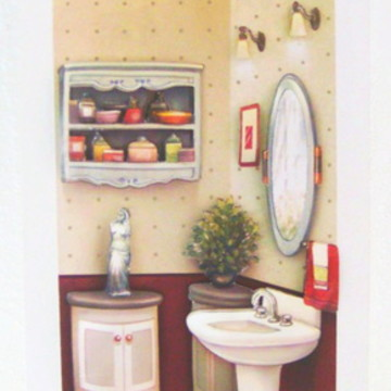 Quadro arte francesa lavabo espelho
