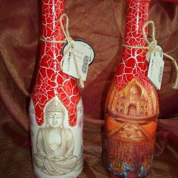 Garrafa em craquelê decorada indiana