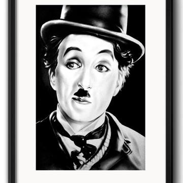 Quadro Charlie Chaplin Preto Branco com Paspatur