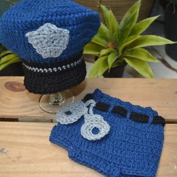 Roupa policial para ensaio newborn