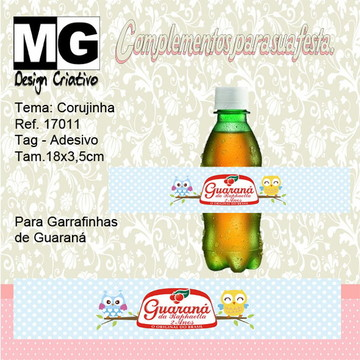 Ref.17011-Tag. Adesivo Guarana Corujinha