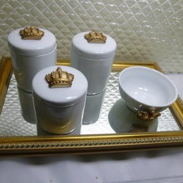 Kit Higiene Madeira e Porcelana
