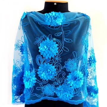 Echarpe Festa Azul Turquesa