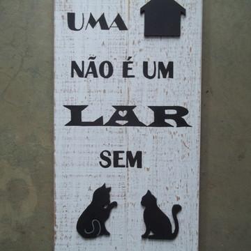 Placa Rústica Lar com Gato