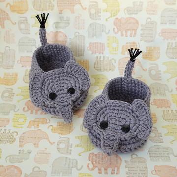 Sapatinho de Crochê - Elefante