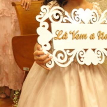 Placa lá vem a noiva - felizes para semp