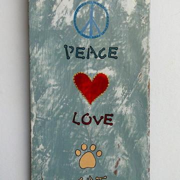 Cabideiro de parede Peace, Love, Cat