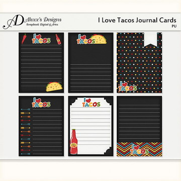 Kit Digital I Love Tacos Journal Cards