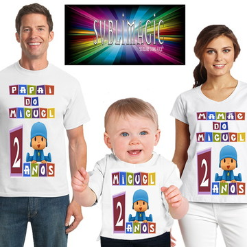 Kit 3 Camisetas Pocoyo
