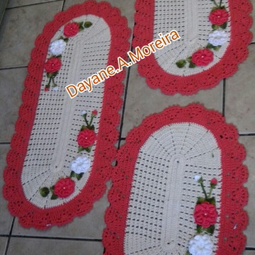 Jogos de tapetes 3 peças na cor goiaba