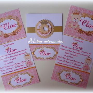 Convite ursinha princesa luxo