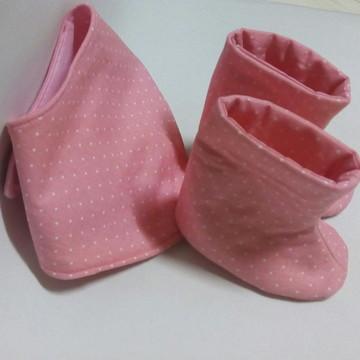kit sapatinho e babador para bebê