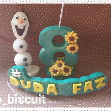 Topo de bolo com vela Frozen