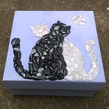 Caixa gato cristais luar mosaico
