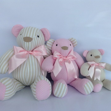 Trio ursinho rosa/bege listras poá xadr