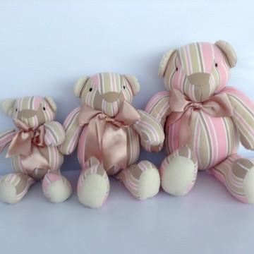 Trio De Ursinos bege e rosa listras