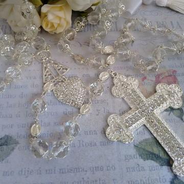 Terço de Noiva em Cristal Folheado Prata