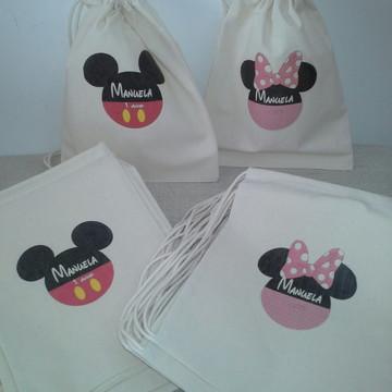 Sacolinha Ecologica Mickey e Minie rosa