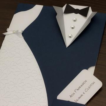 Convite Noivos Londres - Terno Azul