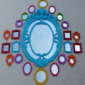 Kit 25 Espelhos Com Molduras Em Resina