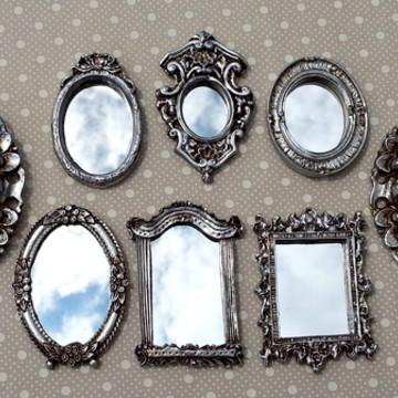 Kit 8 Mini Espelhos Prata Velha