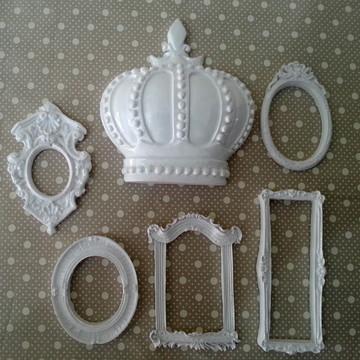 Kit 5 Mini Espelhos Branco Laqueado