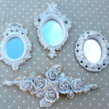 Kit 3 Espelhos Ouro Provençal