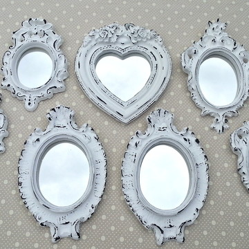 Kit 7 Espelhos Branco Provençal