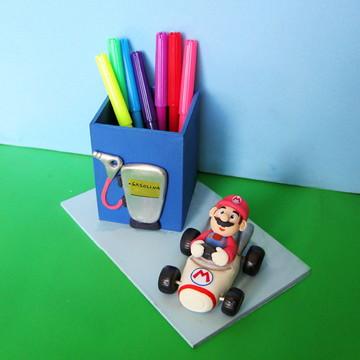 Porta-lápis Mario Bros posto de gasolina