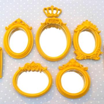 Kit 7 Espelhos Amarelo Laqueado