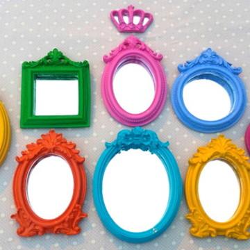 Kit 8 Espelhos Decorativo Coloridos