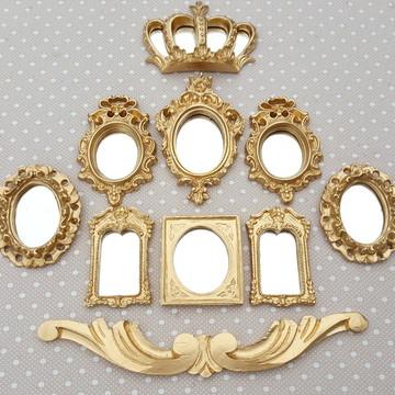 Kit 8 Espelhos Decorativos Dourado