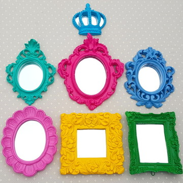 Kit 6 Espelhos Decorativos Coloridos
