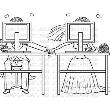Caricatura digital de casal-Pronta entrega