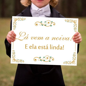 Placa para Casamento - Lá Vem a Noiva