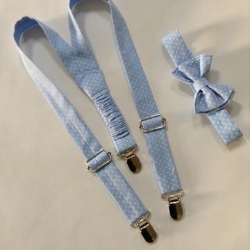 Suspensório e gravata borboleta infantil azul bebê poá
